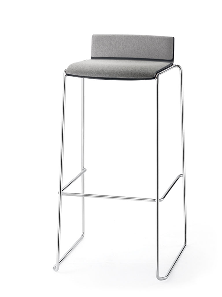 Eless barstool | upholstered seat and backrest
