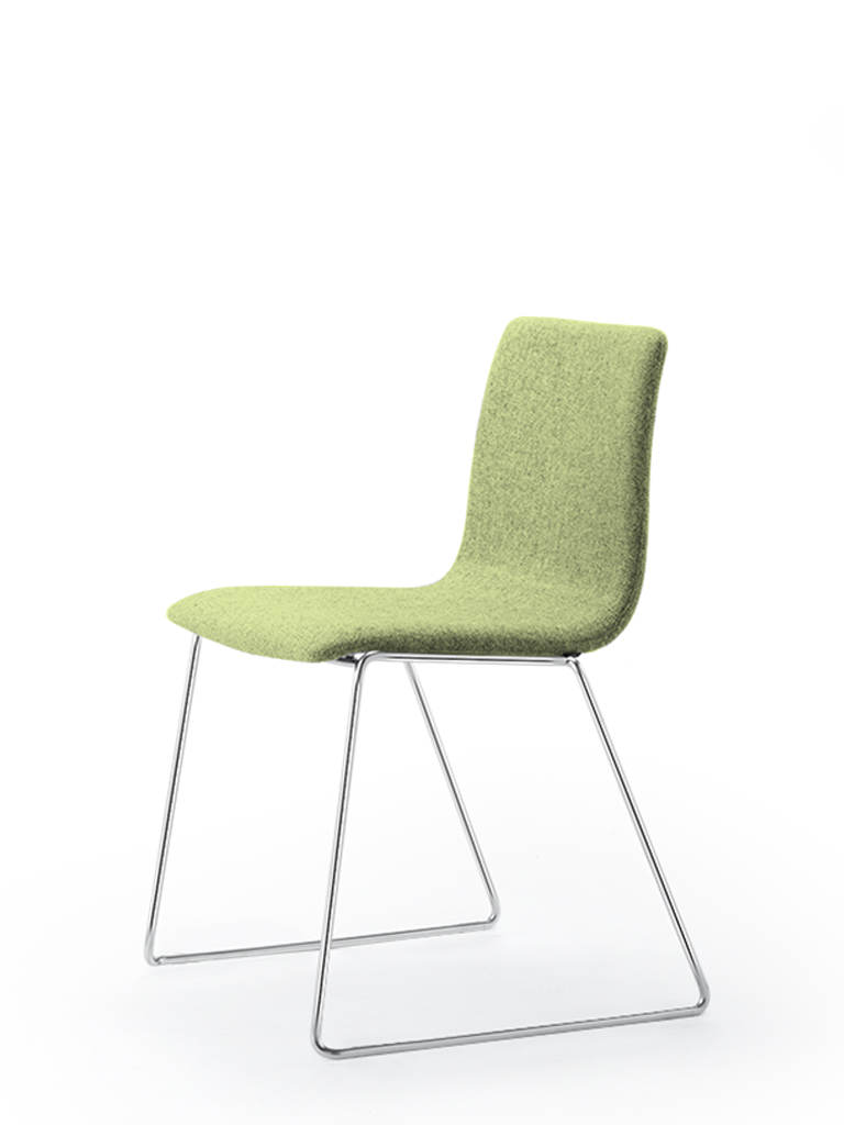 Eless s172 | skid-base chair | green upholstery