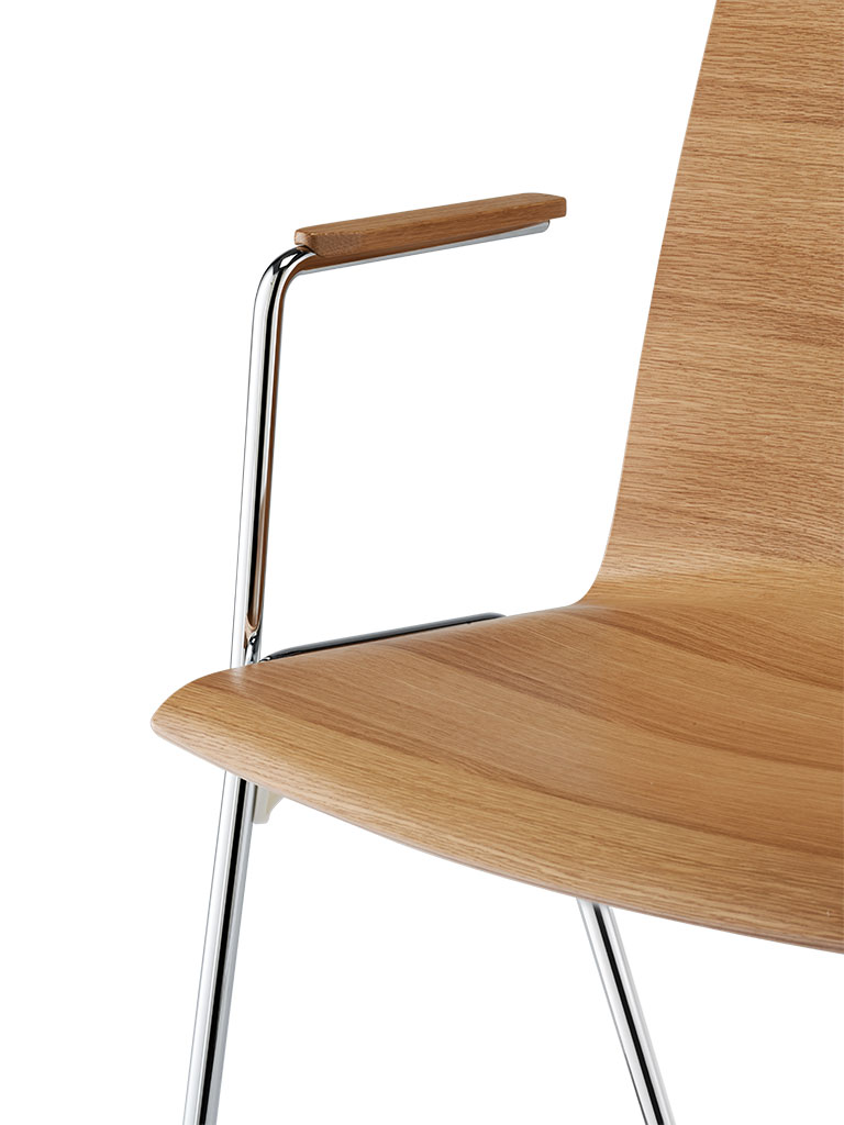 logochair four-legged chair | armrest with wood cover