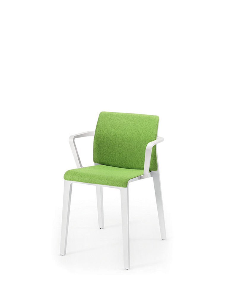 Juno by Arper | white | upholstered seat | upholstered back | closed backrest | armrests
