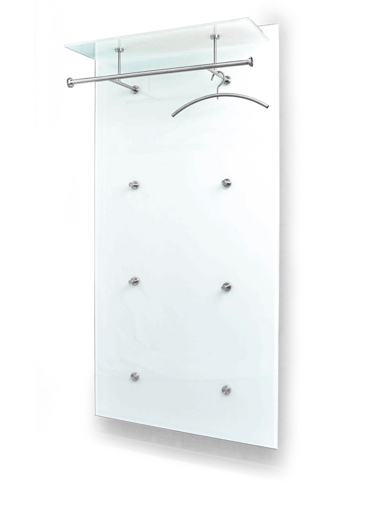D-TEC | PACIFIC 1 ULTRA special model 6 | wall-mounted coat rack 250-ew | stainless steel + safety glass ultrawhite