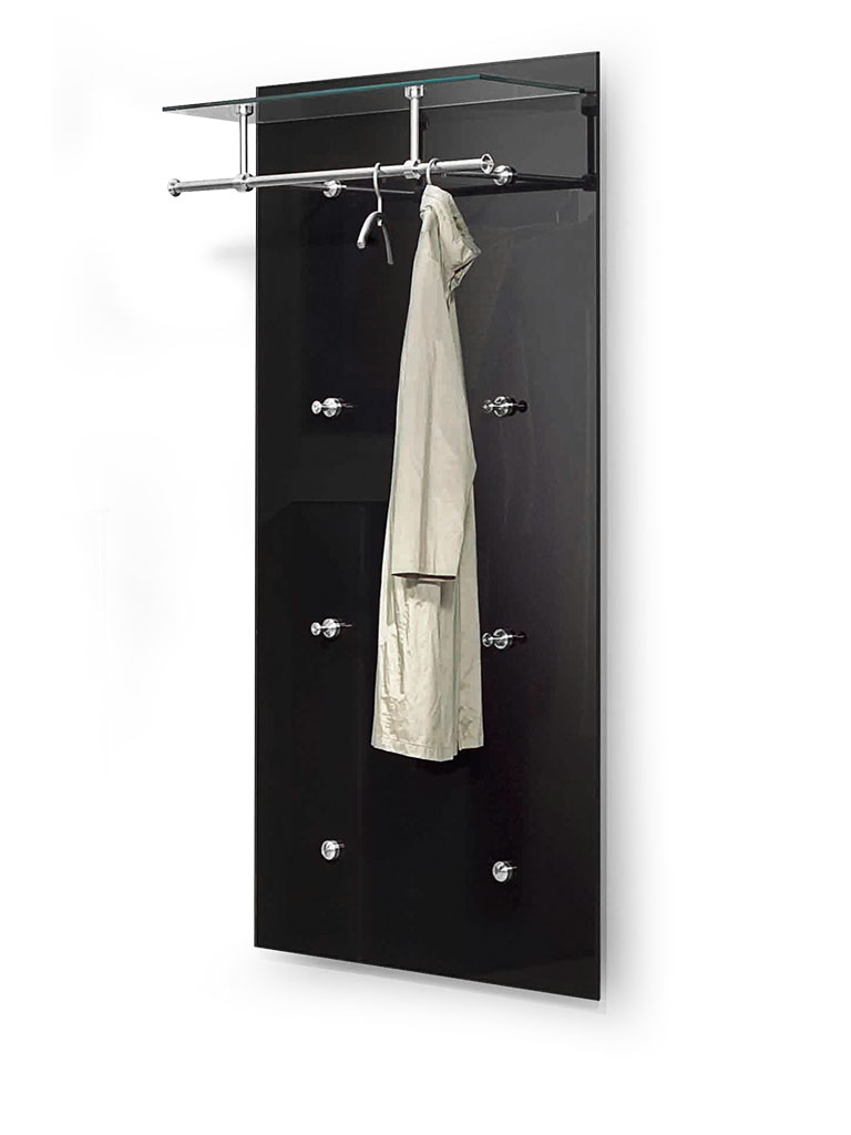 D-TEC | PACIFIC 1 special model 6 | wall-mounted coat rack 250-s6a | aluminum/steel matte-chrome + safety glass anthracite/ultraclear