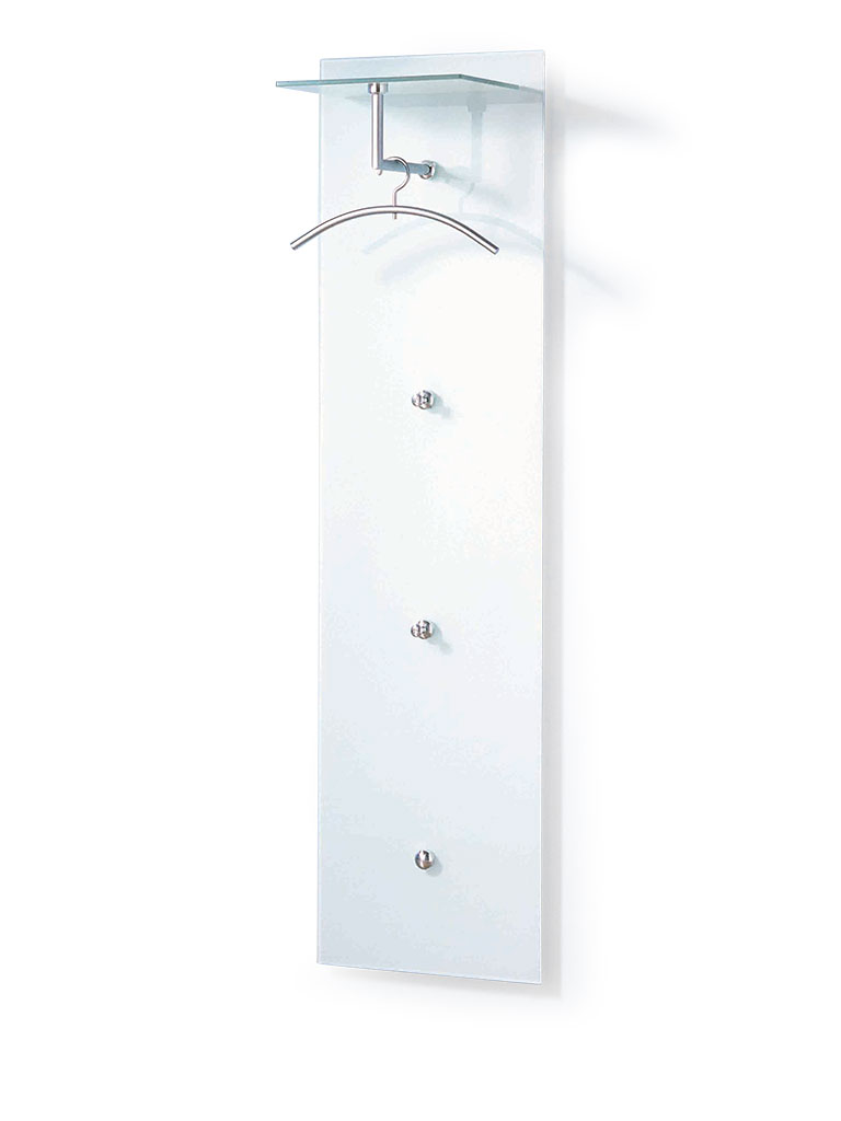 D-TEC | PACIFIC 501 special model 16 | wall-mounted coat rack 281-s16w | aluminum/steel matte chrome+ safety glass ultrawhite
