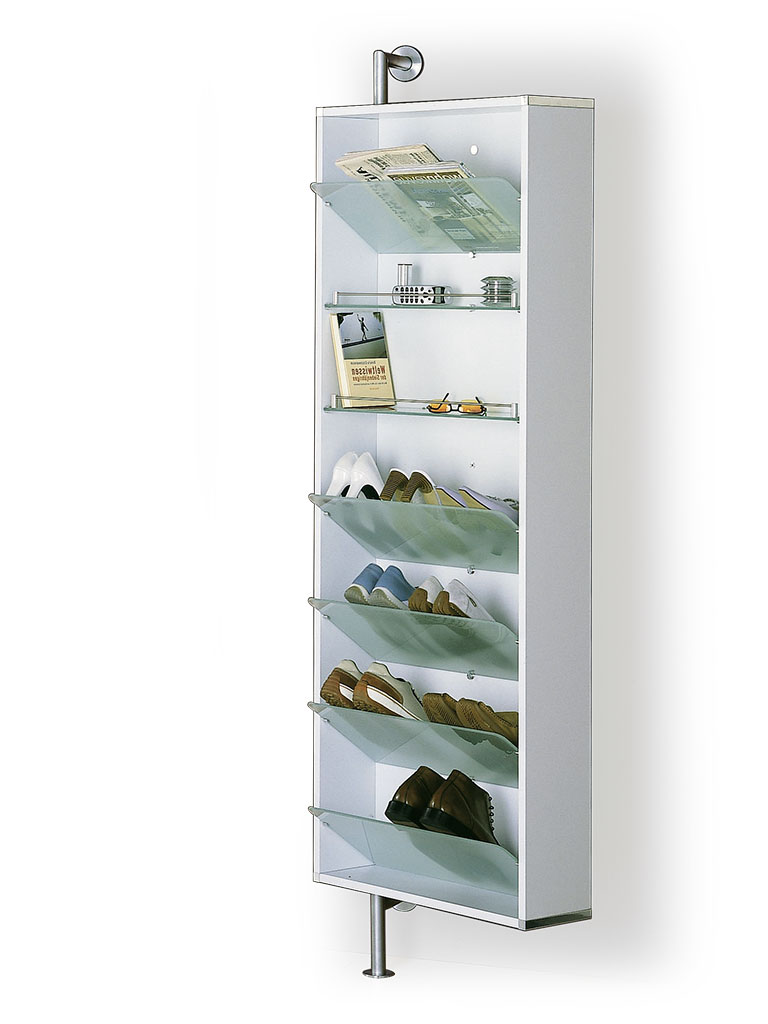 D-TEC | shoe rack with sloping shelves and shelves | white frame