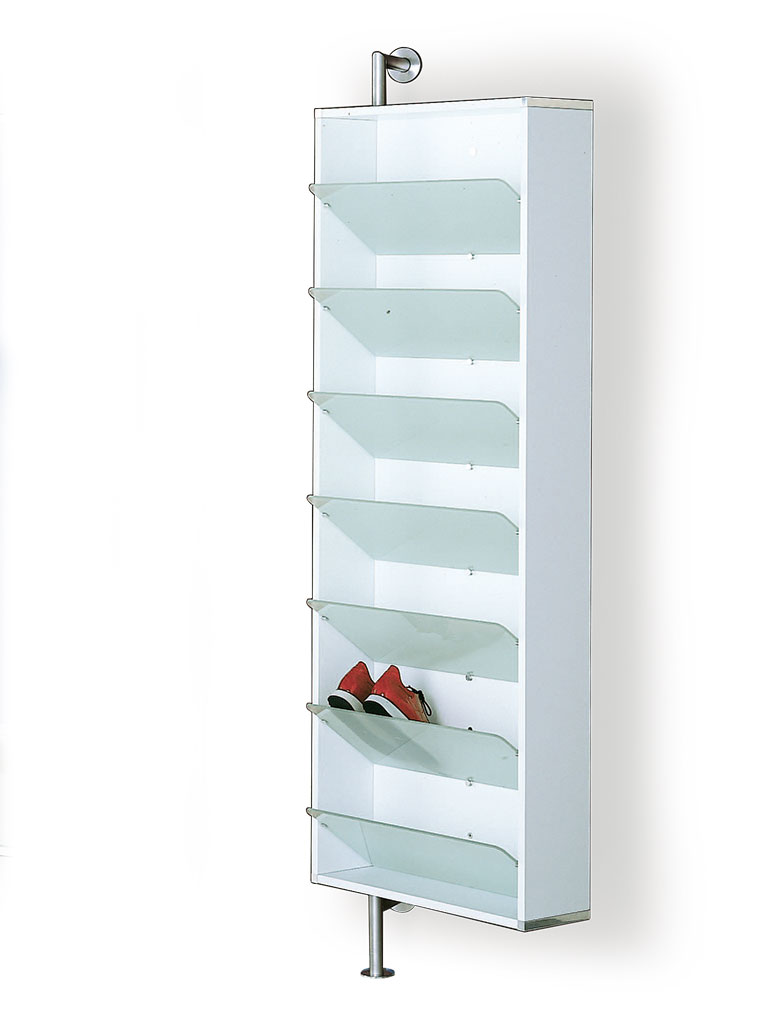 D-TEC | shoe rack with sloping shelves | white frame