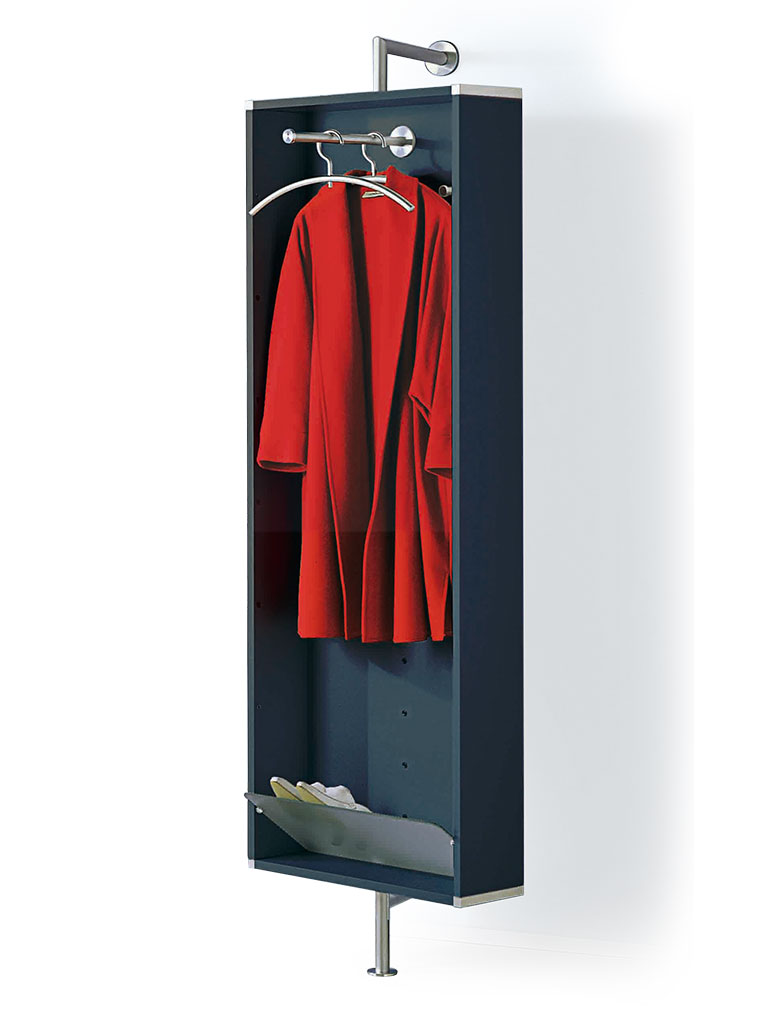 D-TEC | wall-mounted coat rack with clothes rail and hooks | anthracite frame