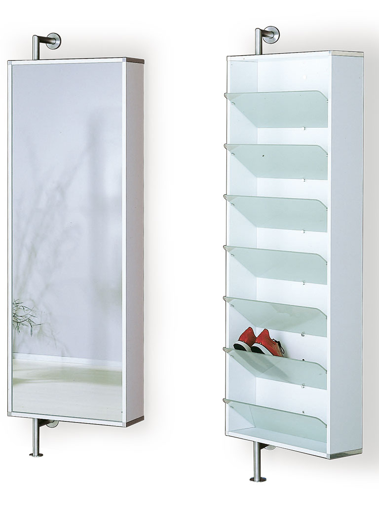 D-TEC | shoe rack with mirror and sloping shelf | white frame